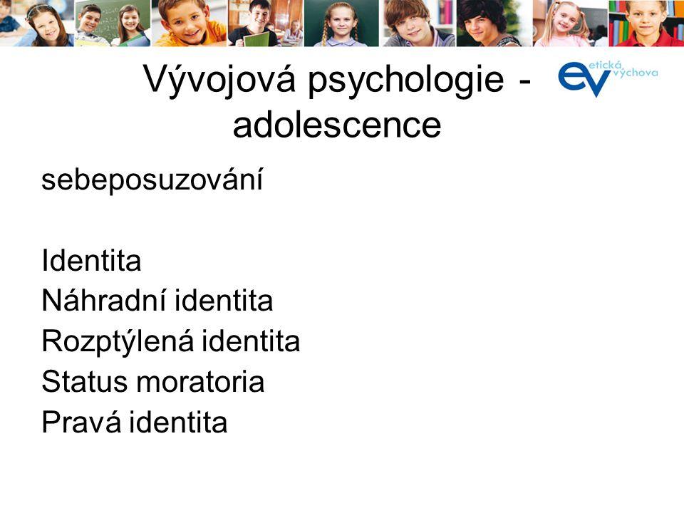 Vývojová psychologie - adolescence