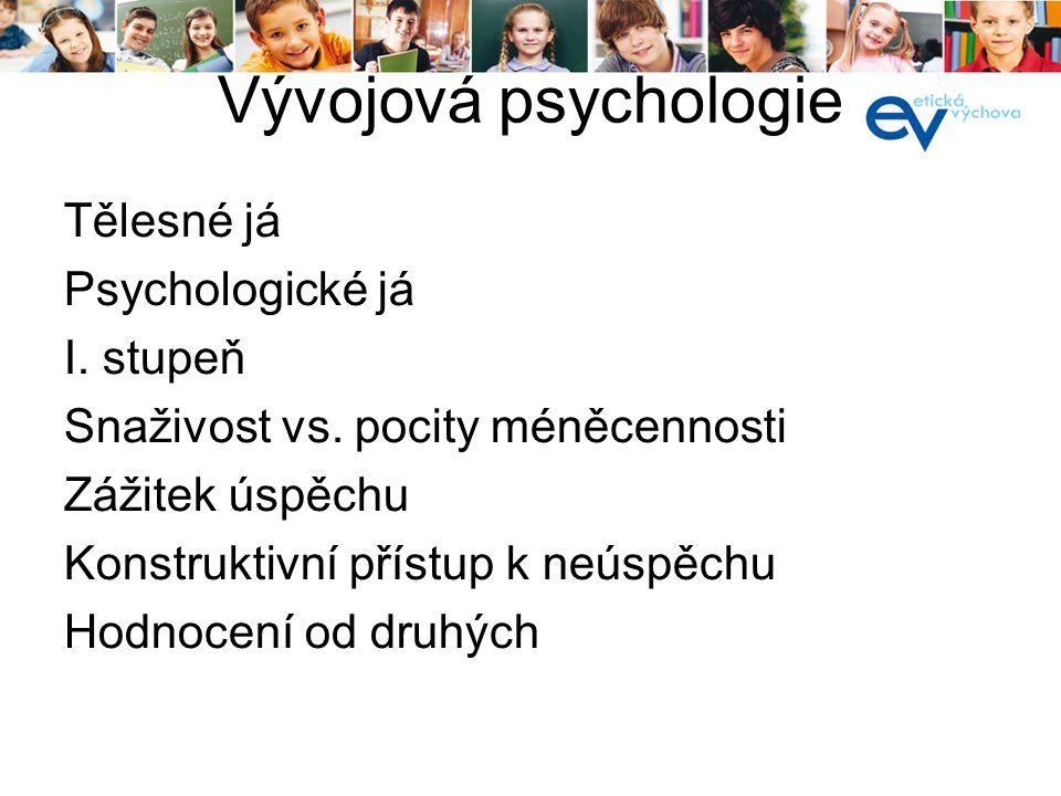 Vývojová psychologie Tělesné já Psychologické já I. stupeň