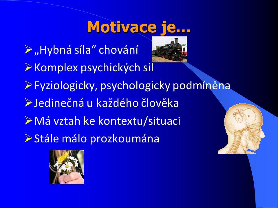 """Motivace je… """"Hybná síla chování Komplex psychických sil"""