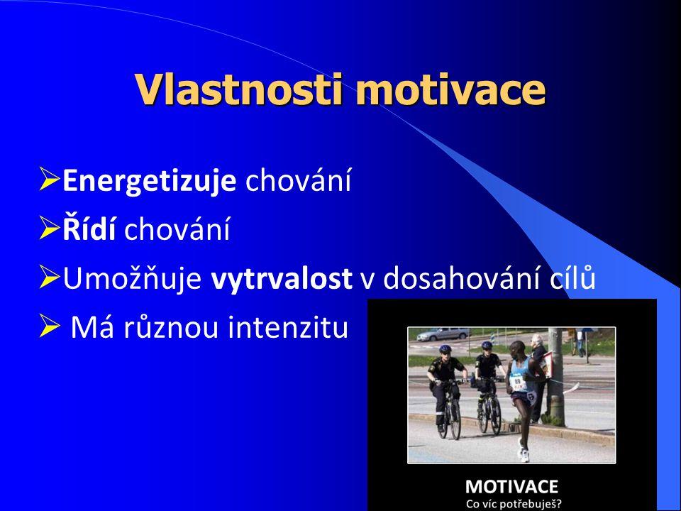 Vlastnosti motivace Energetizuje chování Řídí chování