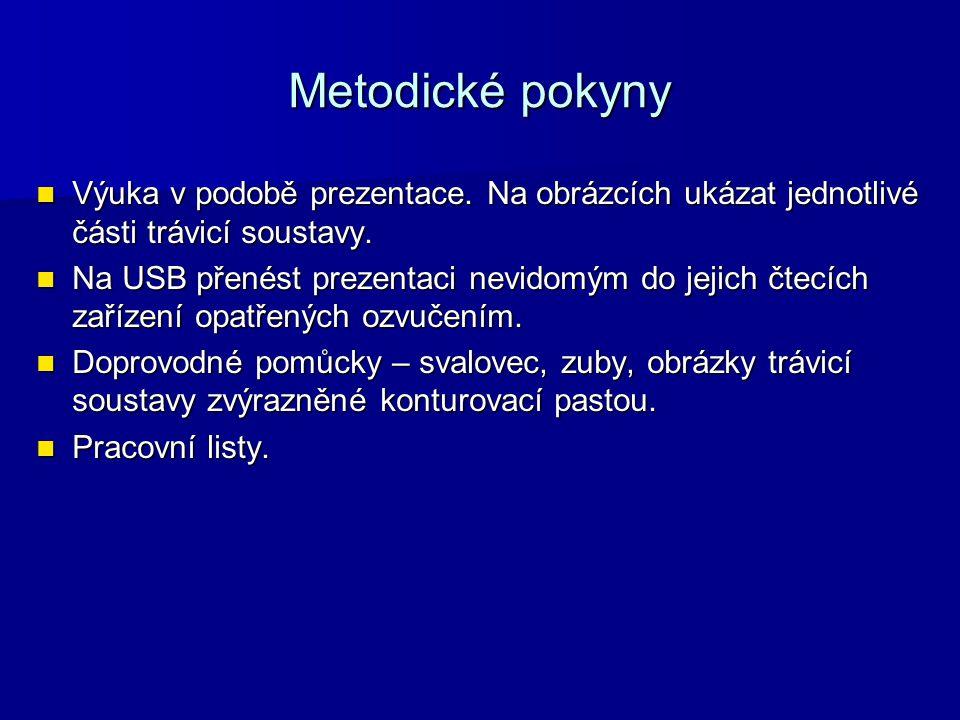 Metodické pokyny Výuka v podobě prezentace. Na obrázcích ukázat jednotlivé části trávicí soustavy.