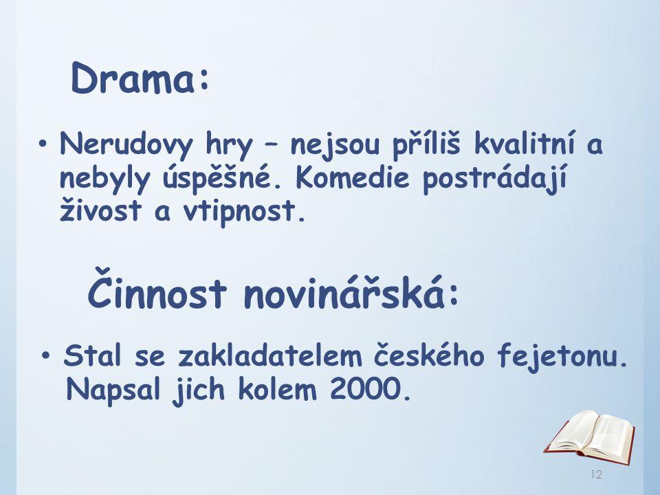 Drama: Činnost novinářská: