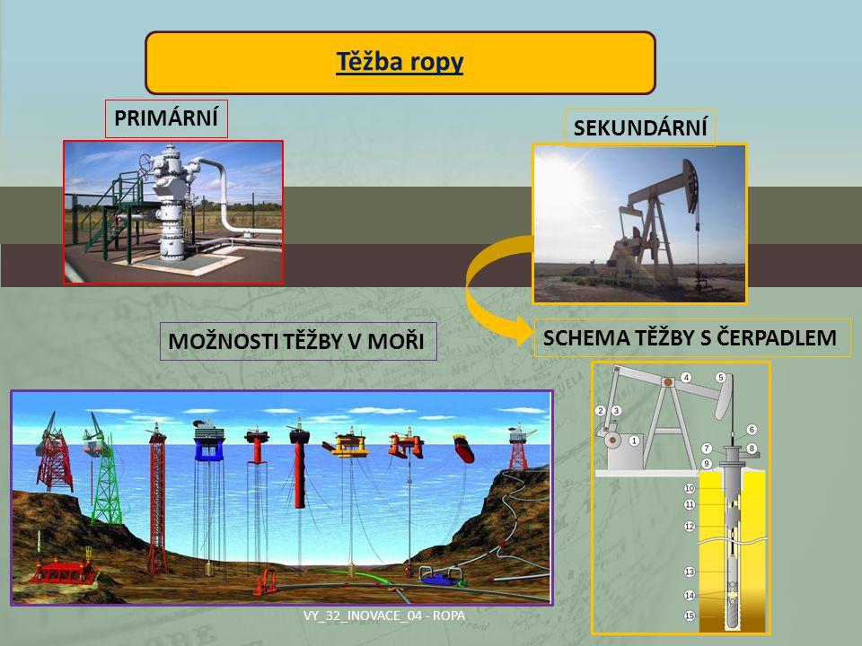 Těžba ropy PRIMÁRNÍ SEKUNDÁRNÍ SCHEMA TĚŽBY S ČERPADLEM