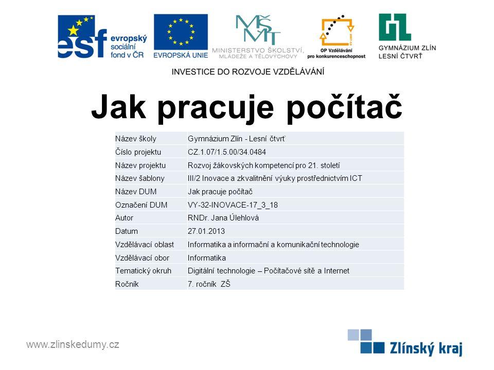 Jak pracuje počítač www.zlinskedumy.cz Název školy