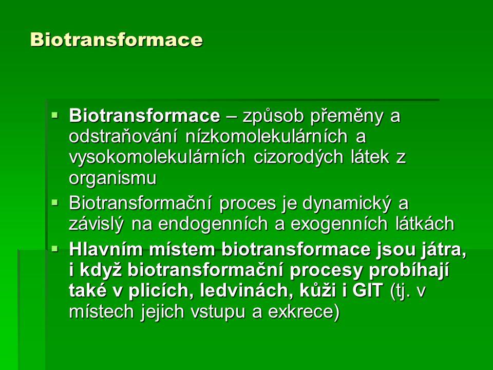 Biotransformace Biotransformace – způsob přeměny a odstraňování nízkomolekulárních a vysokomolekulárních cizorodých látek z organismu.