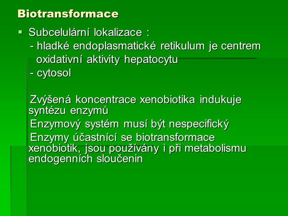 Biotransformace Subcelulární lokalizace : - hladké endoplasmatické retikulum je centrem. oxidativní aktivity hepatocytu.