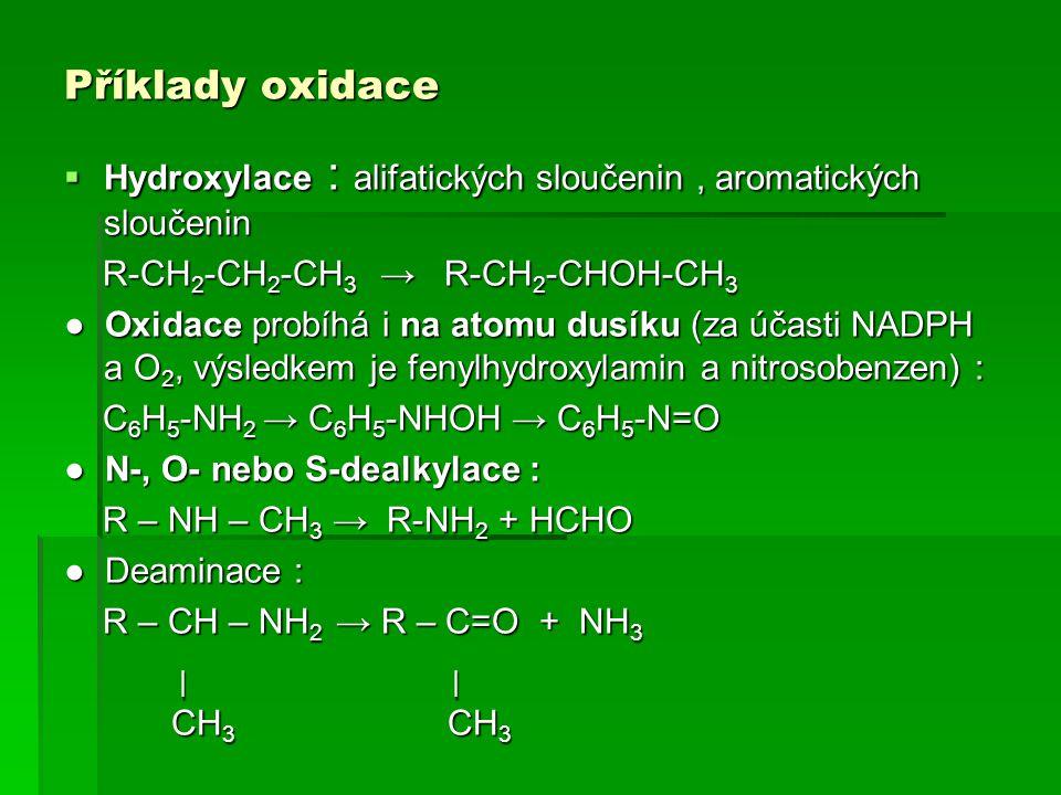 Příklady oxidace Hydroxylace : alifatických sloučenin , aromatických sloučenin. R-CH2-CH2-CH3 → R-CH2-CHOH-CH3.