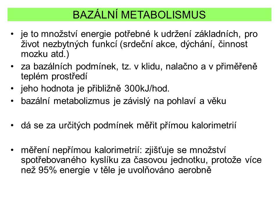 BAZÁLNÍ METABOLISMUS je to množství energie potřebné k udržení základních, pro život nezbytných funkcí (srdeční akce, dýchání, činnost mozku atd.)