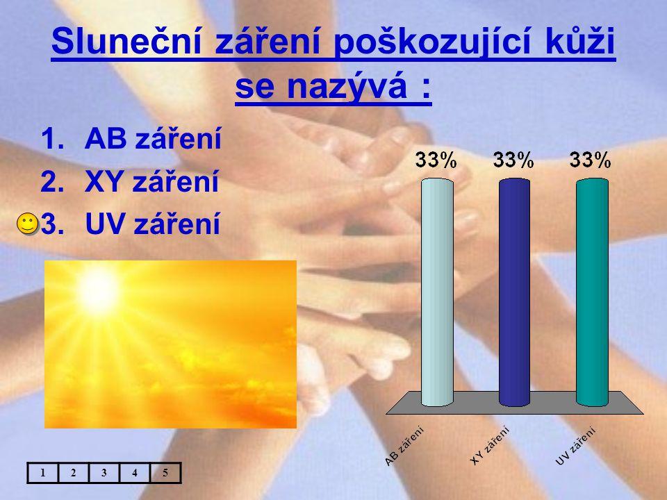 Sluneční záření poškozující kůži se nazývá :