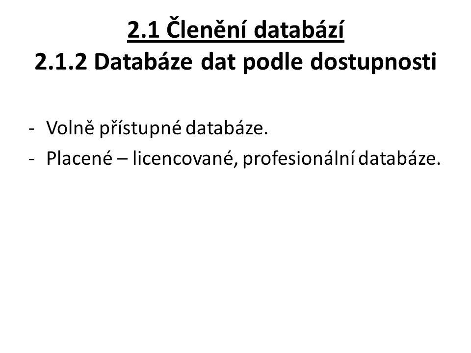 2.1 Členění databází 2.1.2 Databáze dat podle dostupnosti