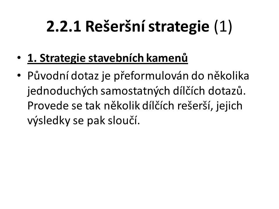 2.2.1 Rešeršní strategie (1) 1. Strategie stavebních kamenů