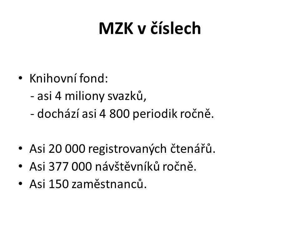MZK v číslech Knihovní fond: - asi 4 miliony svazků,