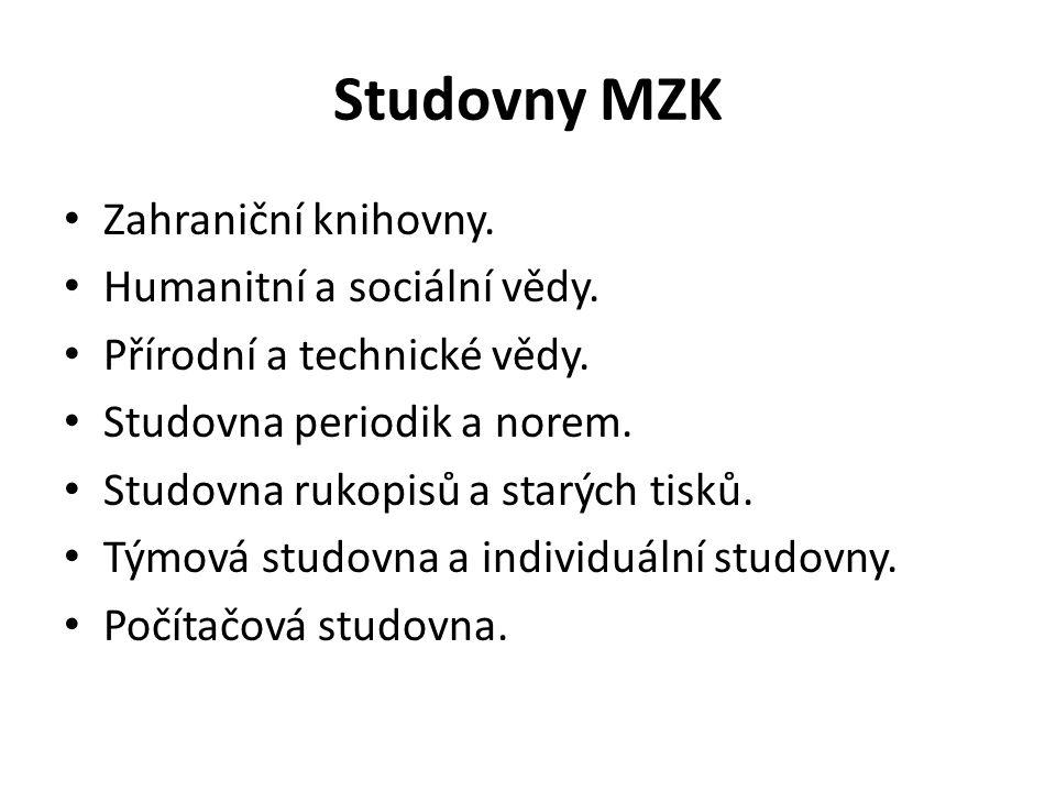 Studovny MZK Zahraniční knihovny. Humanitní a sociální vědy.