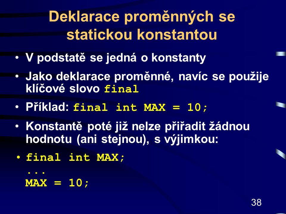 Deklarace proměnných se statickou konstantou