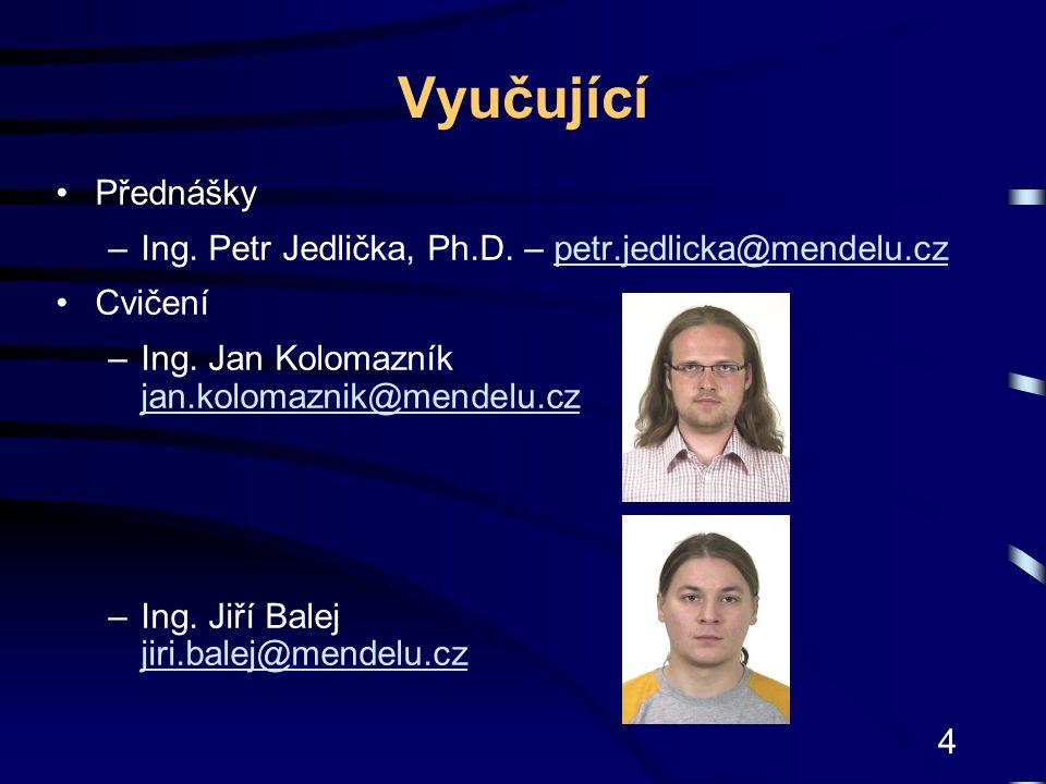 Vyučující Přednášky. Ing. Petr Jedlička, Ph.D. – petr.jedlicka@mendelu.cz. Cvičení. Ing. Jan Kolomazník jan.kolomaznik@mendelu.cz.