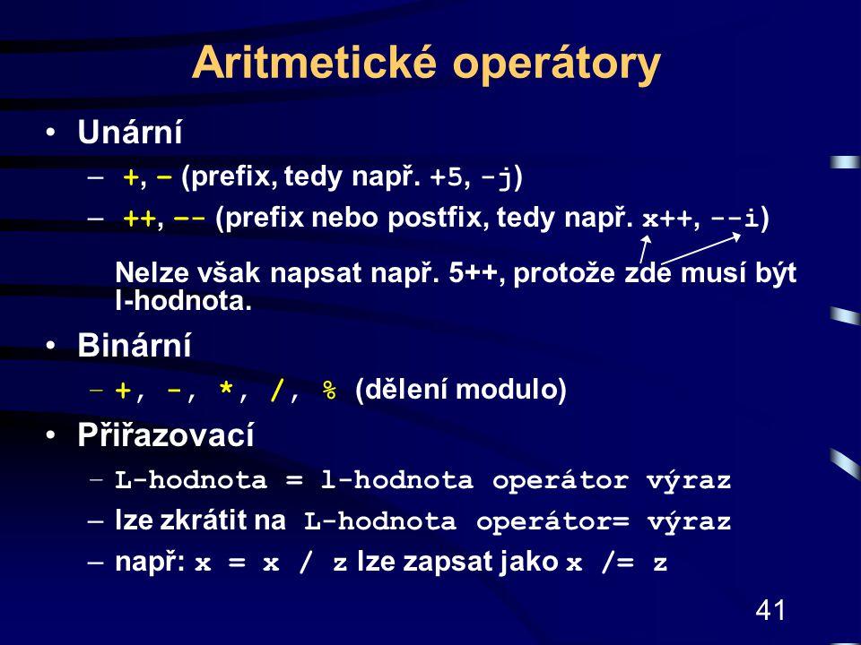 Aritmetické operátory