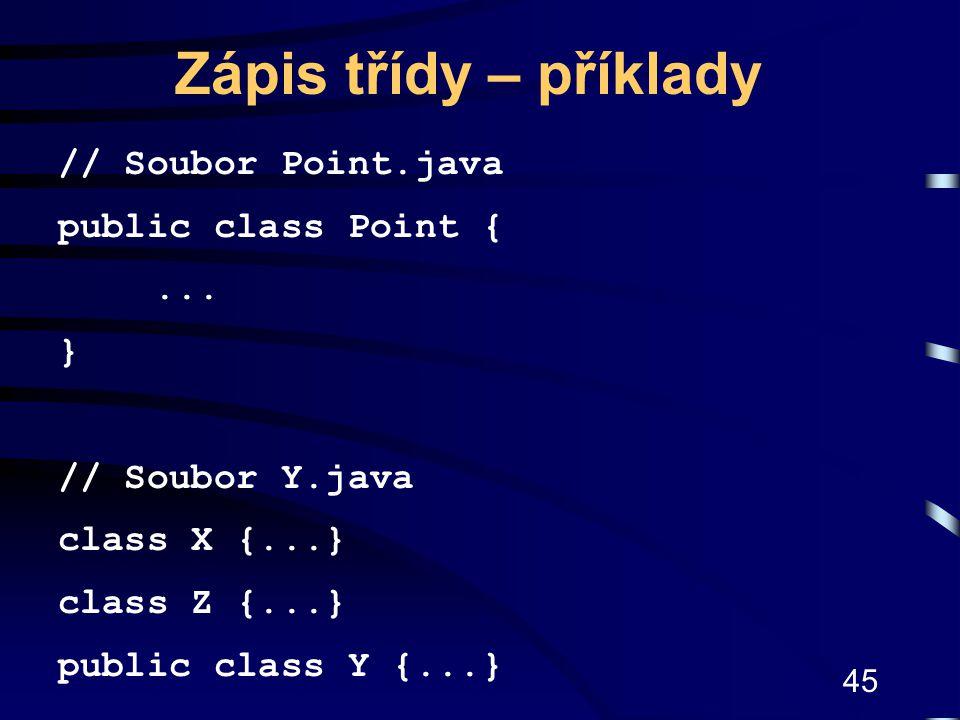 Zápis třídy – příklady // Soubor Point.java public class Point { ... }
