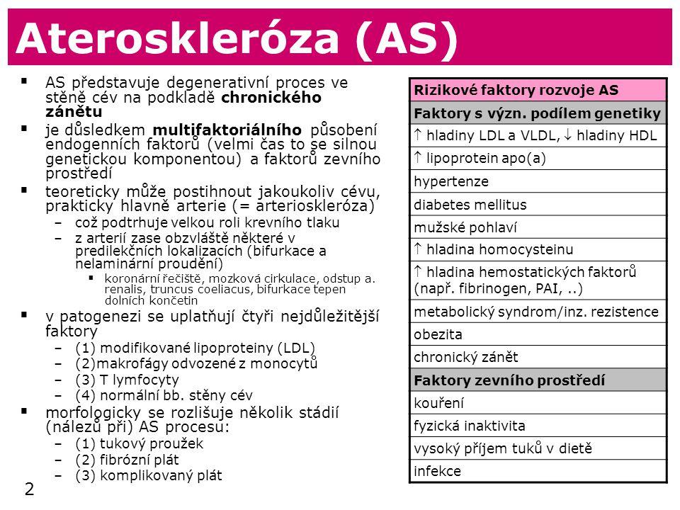 Ateroskleróza (AS) AS představuje degenerativní proces ve stěně cév na podkladě chronického zánětu.