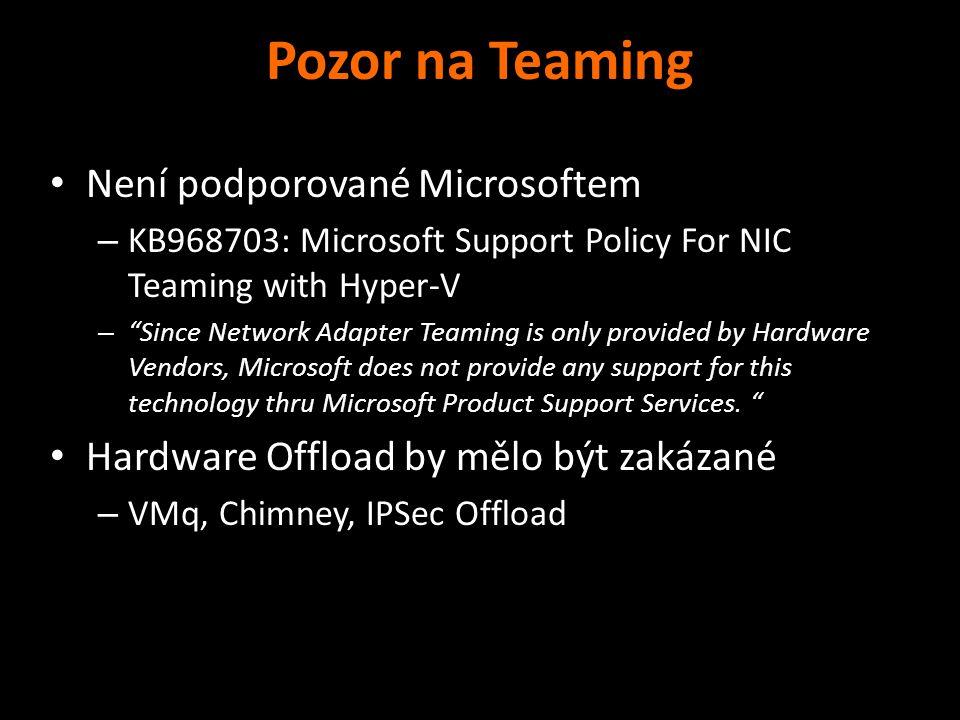Pozor na Teaming Není podporované Microsoftem