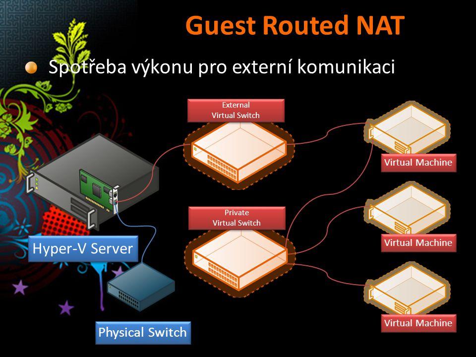Guest Routed NAT Spotřeba výkonu pro externí komunikaci Hyper-V Server