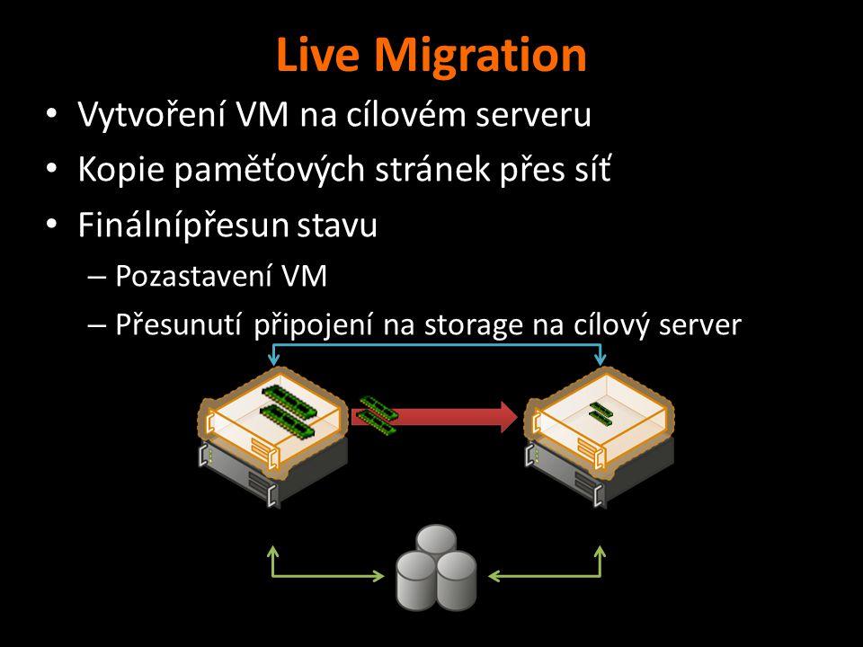 Live Migration Vytvoření VM na cílovém serveru