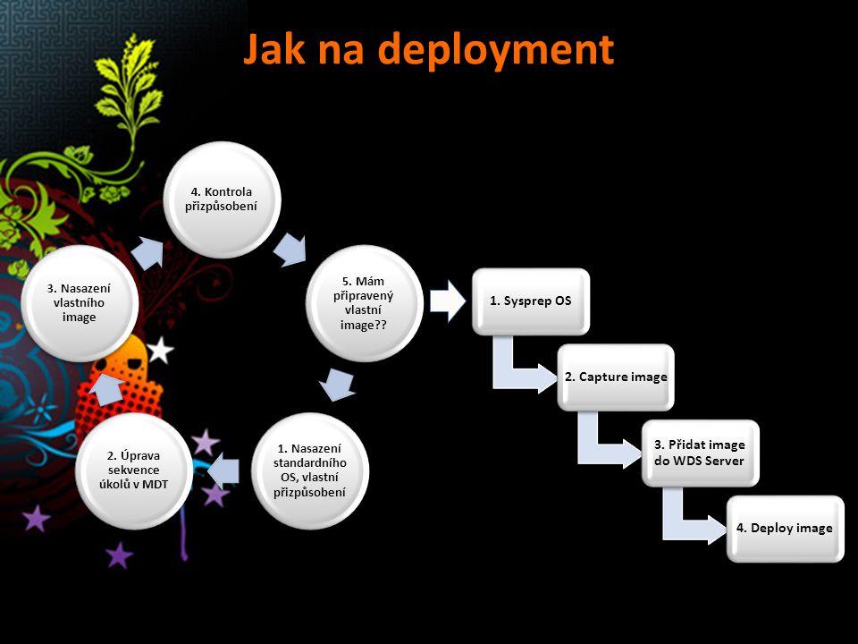 Jak na deployment MDT 2010 WDS 1. Sysprep OS 2. Capture image