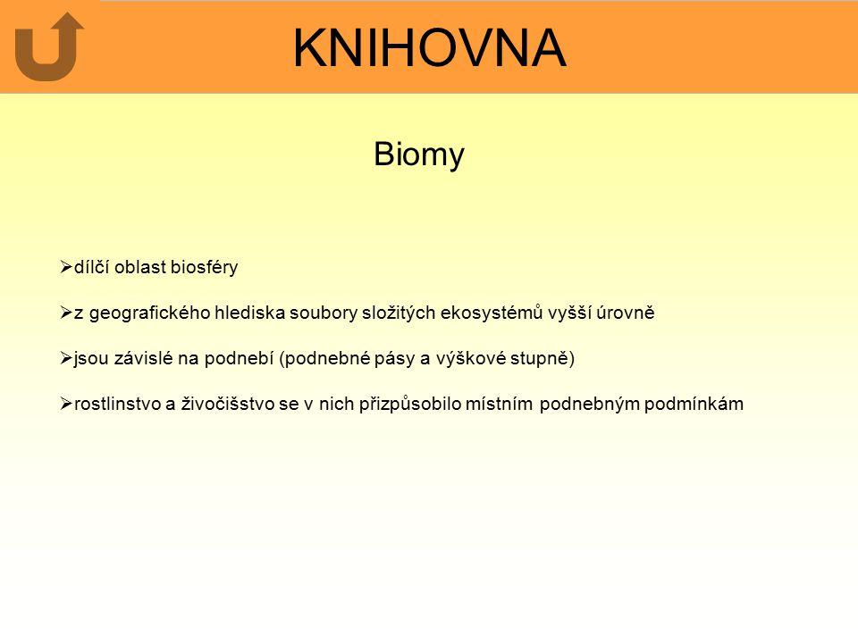 KNIHOVNA Biomy dílčí oblast biosféry