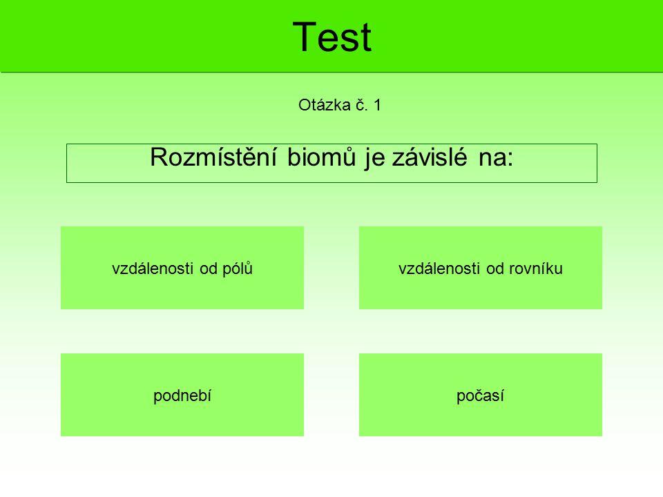 Test Rozmístění biomů je závislé na: Otázka č. 1 vzdálenosti od pólů