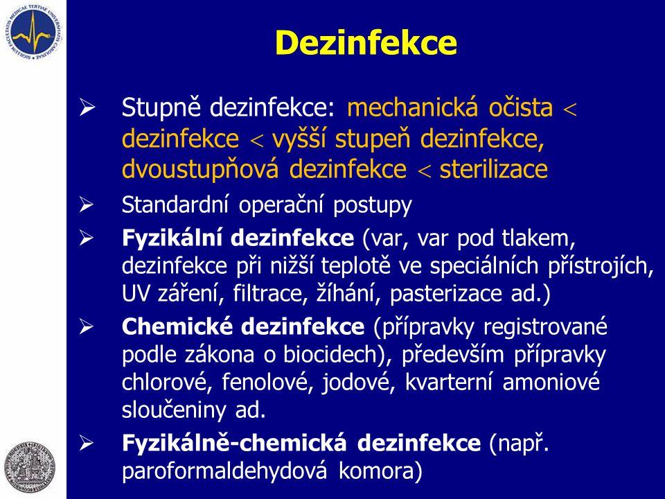 Dezinfekce Stupně dezinfekce: mechanická očista  dezinfekce  vyšší stupeň dezinfekce, dvoustupňová dezinfekce  sterilizace.
