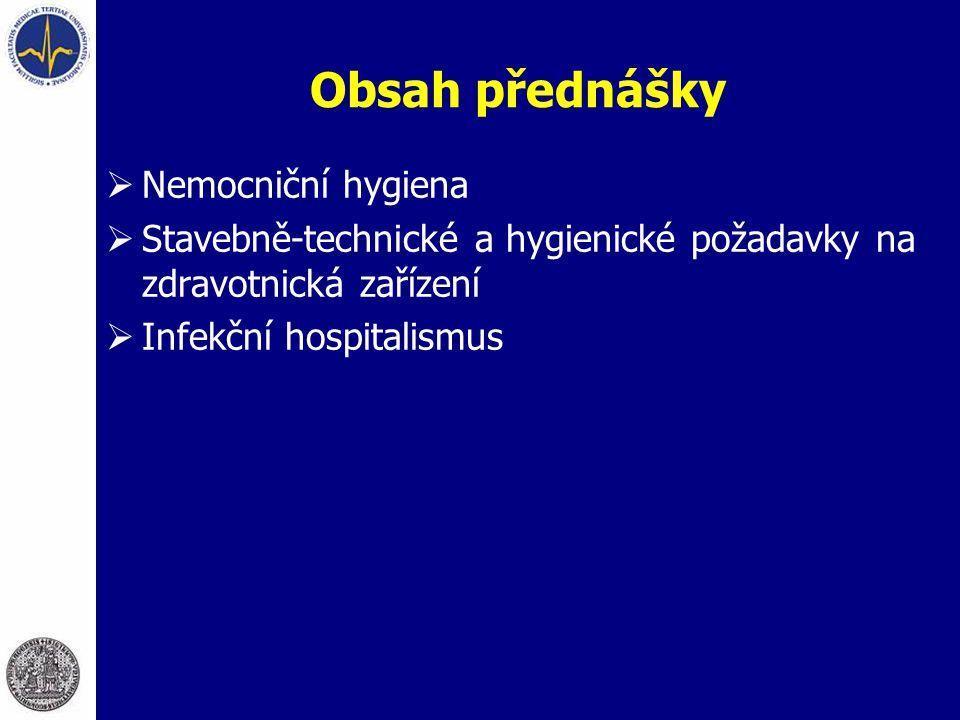 Obsah přednášky Nemocniční hygiena