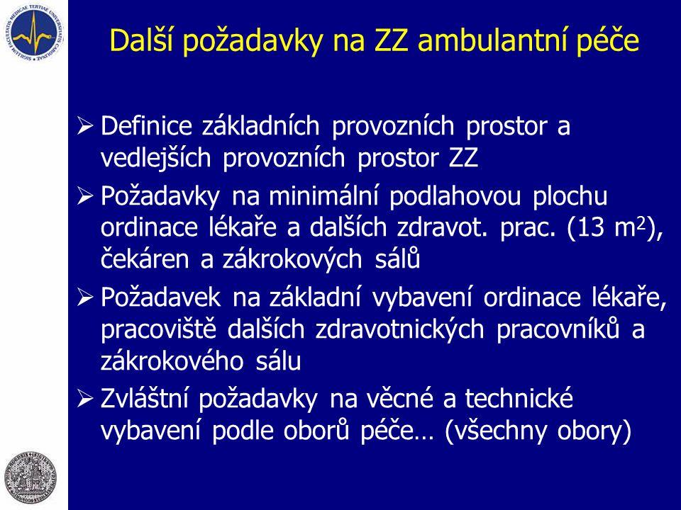 Další požadavky na ZZ ambulantní péče