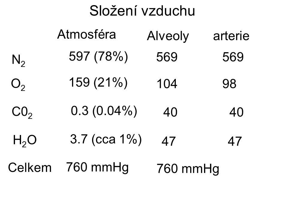 Složení vzduchu Atmosféra Alveoly arterie 597 (78%) 569 569 N2 O2