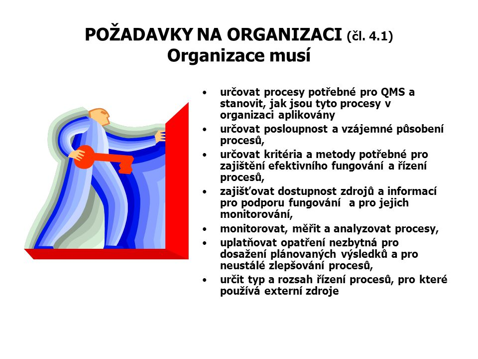 POŽADAVKY NA ORGANIZACI (čl. 4.1) Organizace musí