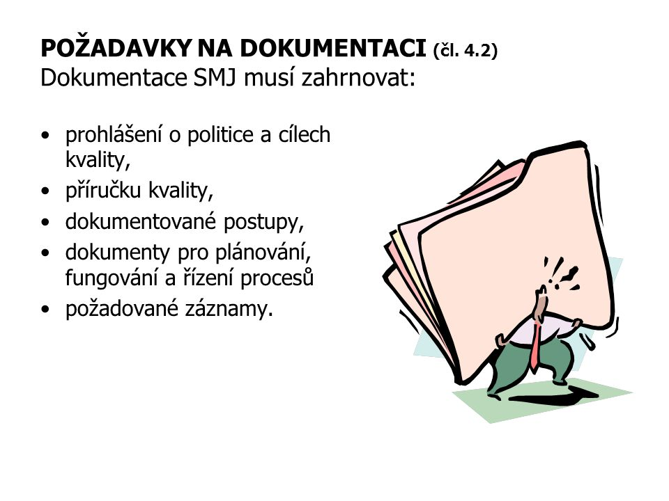 POŽADAVKY NA DOKUMENTACI (čl. 4.2) Dokumentace SMJ musí zahrnovat: