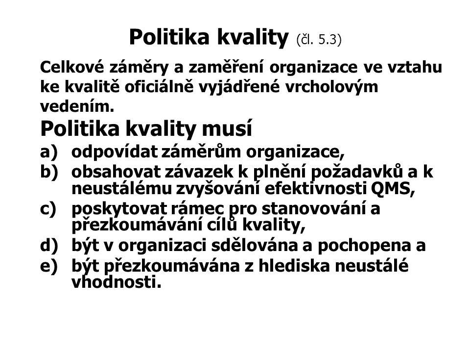Politika kvality (čl. 5.3) Politika kvality musí