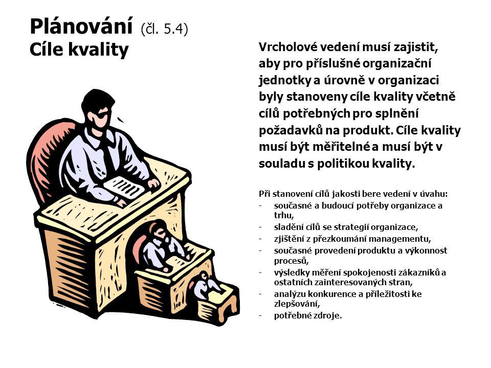Plánování (čl. 5.4) Cíle kvality