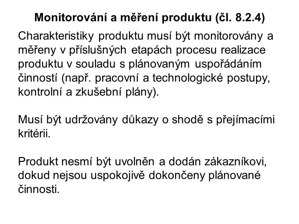 Monitorování a měření produktu (čl. 8.2.4)