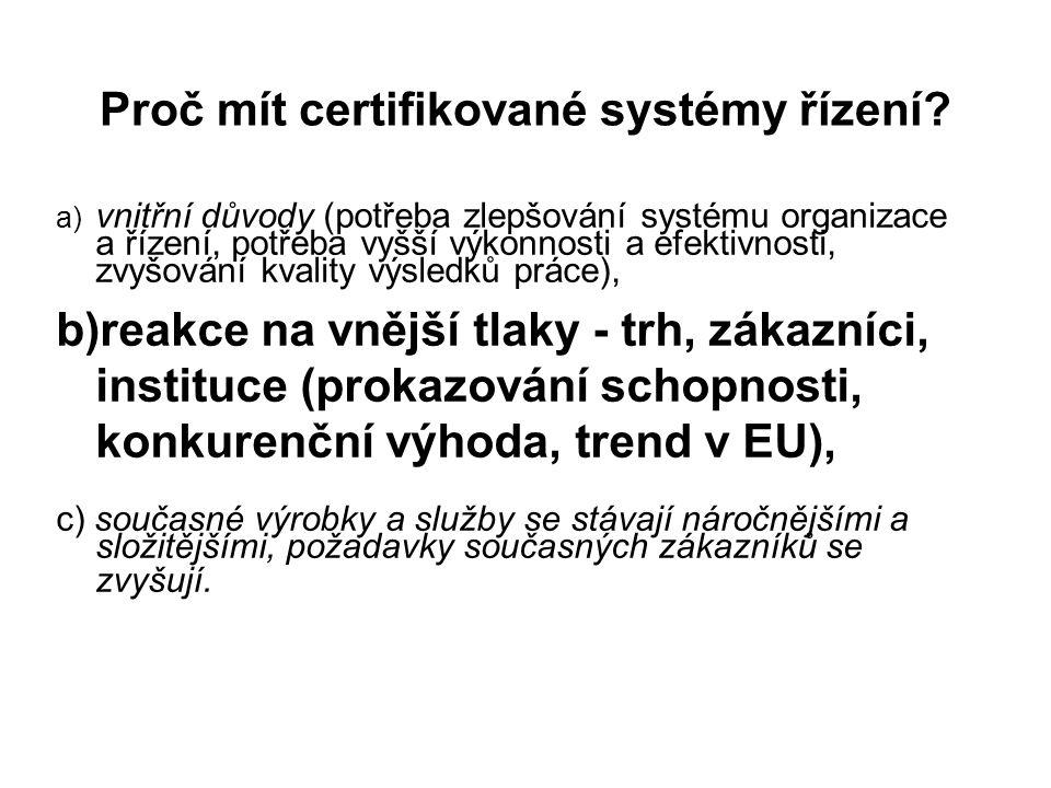 Proč mít certifikované systémy řízení