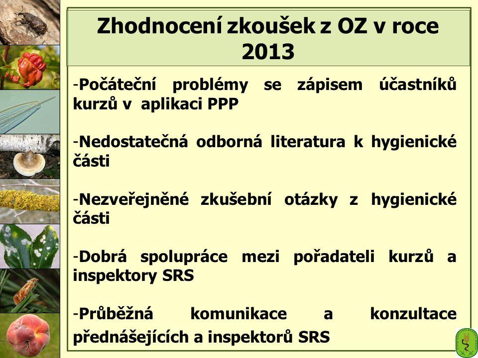 Zhodnocení zkoušek z OZ v roce 2013
