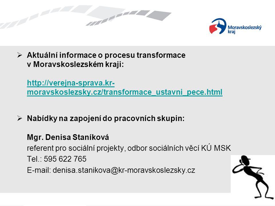 Aktuální informace o procesu transformace v Moravskoslezském kraji: