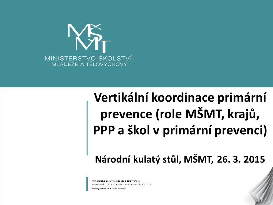 Vertikální koordinace primární prevence (role MŠMT, krajů, PPP a škol v primární prevenci) Národní kulatý stůl, MŠMT, 26. 3. 2015