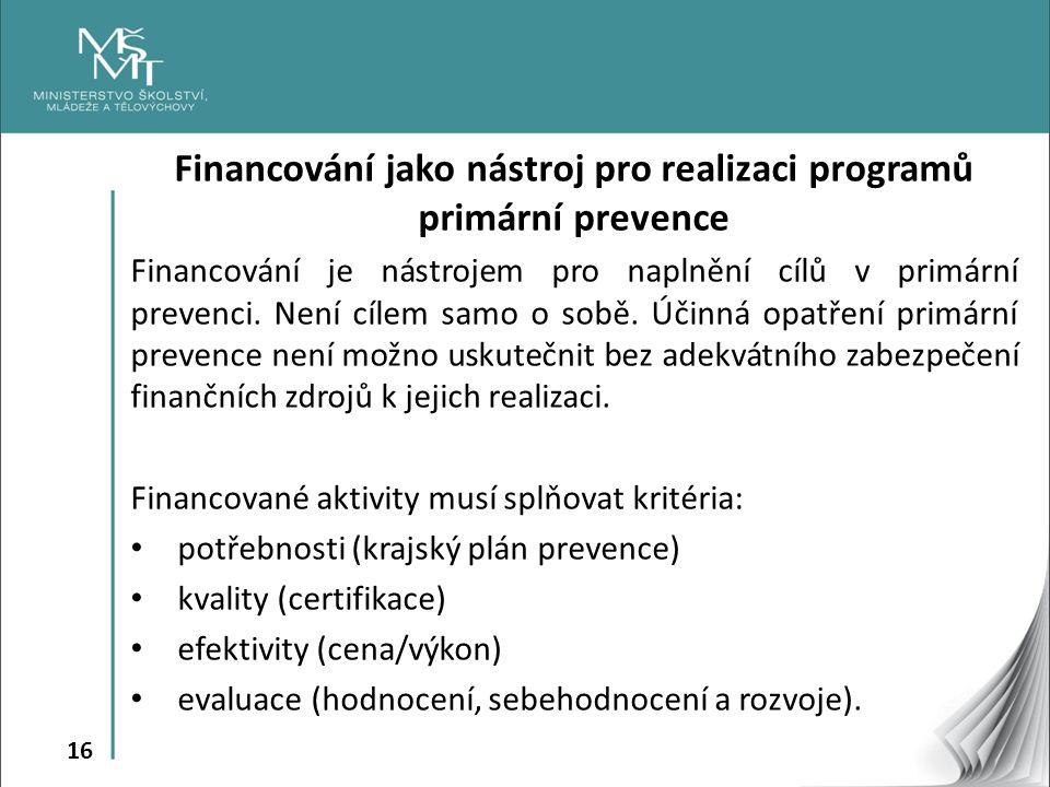 Financování jako nástroj pro realizaci programů primární prevence