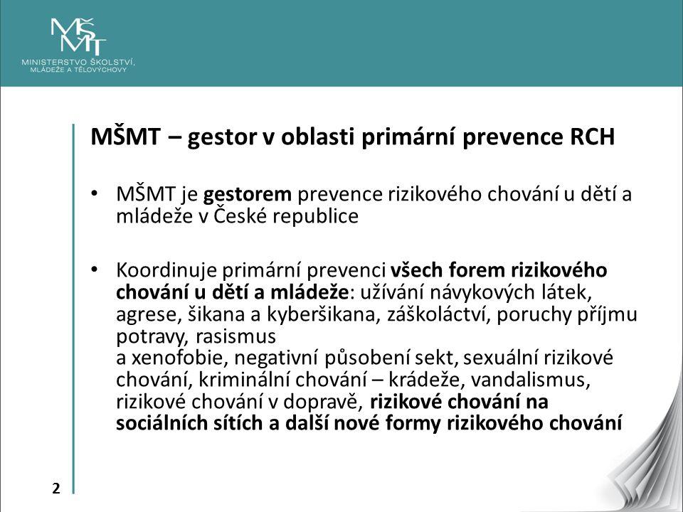 MŠMT – gestor v oblasti primární prevence RCH