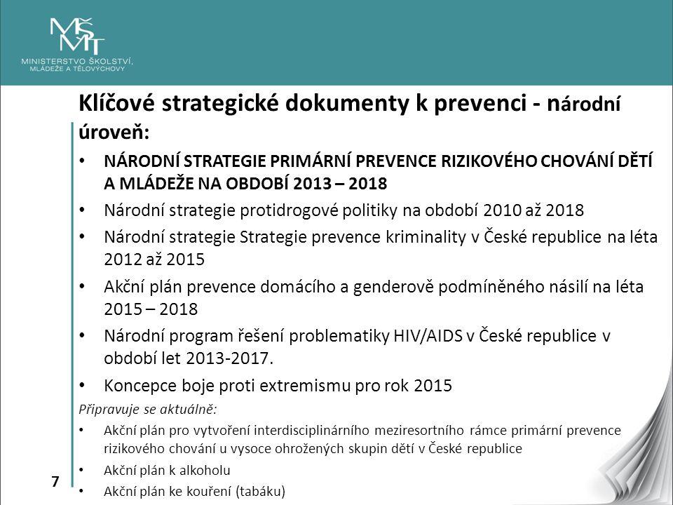 Klíčové strategické dokumenty k prevenci - národní úroveň: