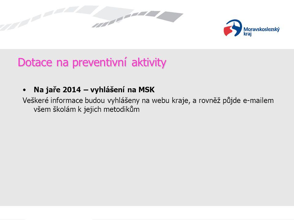 Dotace na preventivní aktivity