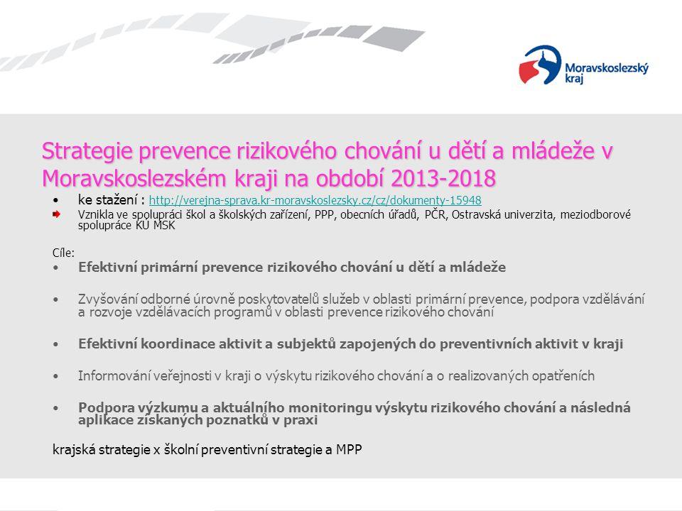 Strategie prevence rizikového chování u dětí a mládeže v Moravskoslezském kraji na období 2013-2018