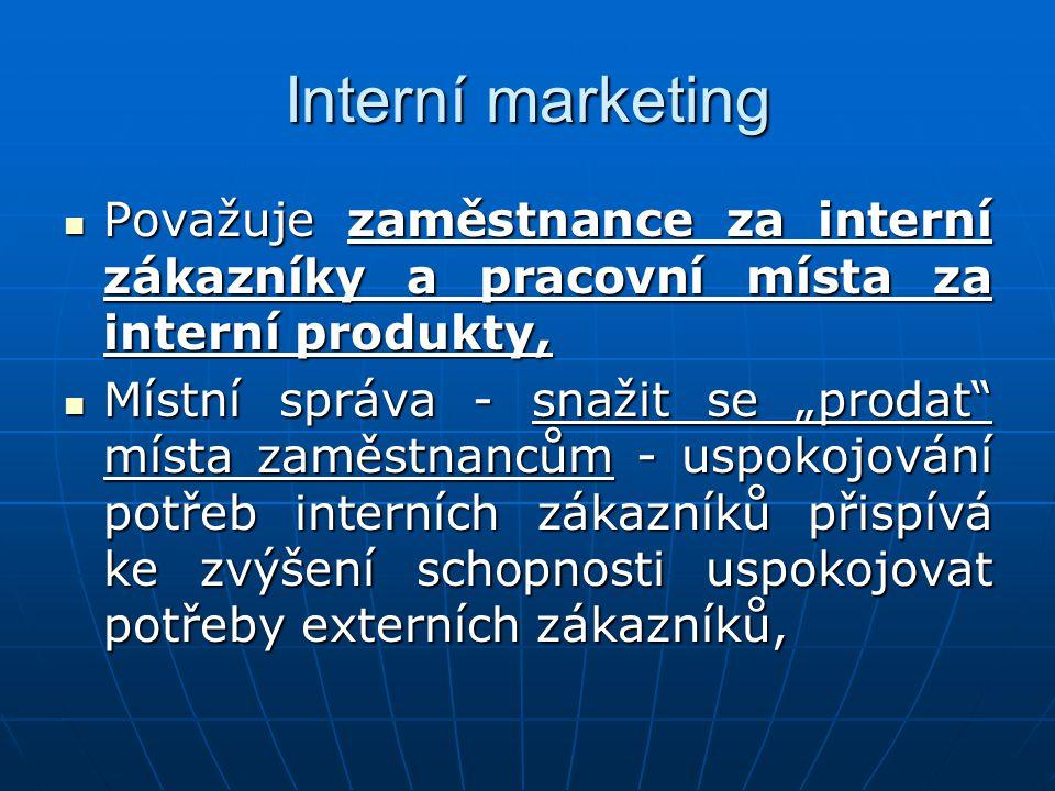 Interní marketing Považuje zaměstnance za interní zákazníky a pracovní místa za interní produkty,
