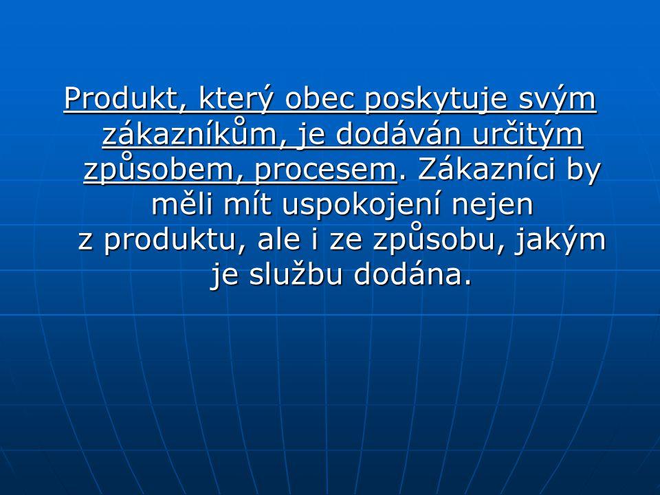 Produkt, který obec poskytuje svým zákazníkům, je dodáván určitým způsobem, procesem.