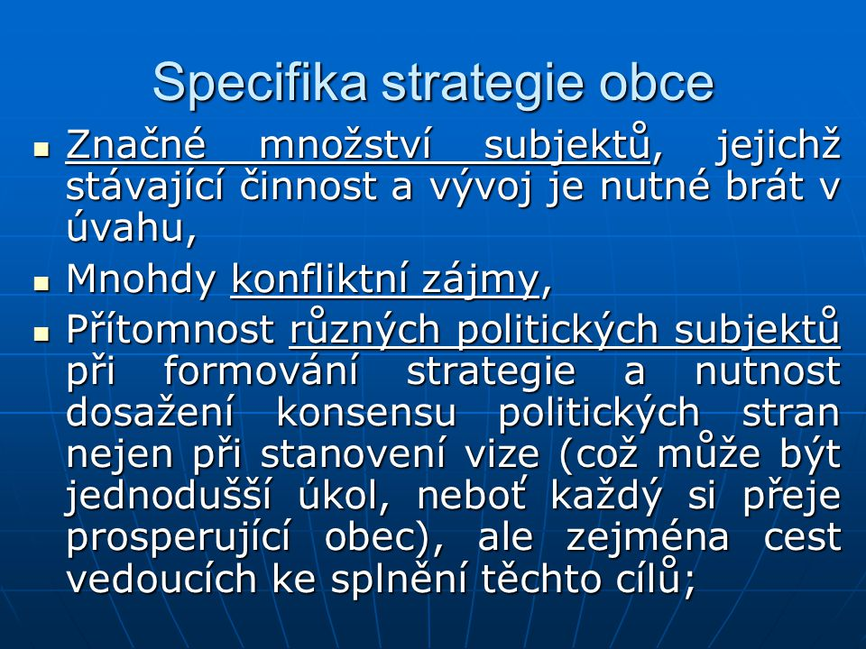 Specifika strategie obce