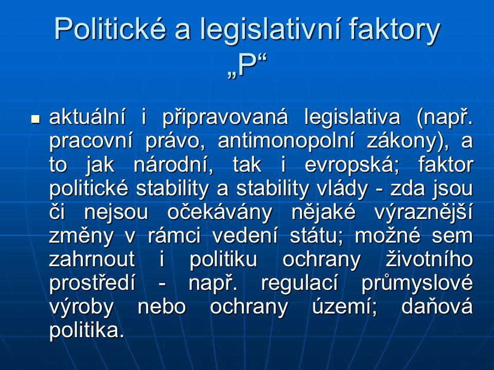"Politické a legislativní faktory ""P"